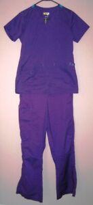 WONDER WINK FLEX 5308 Nursing Scrub Set Sz XS Purple Turquoise EUC Top & Pants