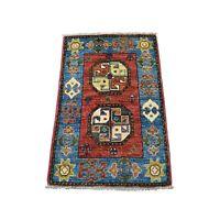 2'x3' Red Tekke Design Hand Knotted Afghan Ersari Pure Wool Oriental Rug G53423