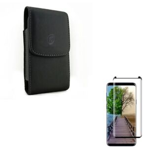 Galaxy S9+ Plus - PU Leather Belt Case w 5D Tempered Glass Screen Protector