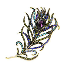 Vintage Peacock Feather Golden Multi-color Rhinestone Brooch Pins Jewelry