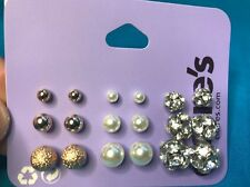 Nine Pairs Claire's Gold Faux Pearl Rhinestone Disco Ball Graduating Earrings