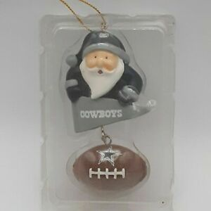 Dallas Cowboys Santa With Ball Ornament Christmas Holiday The Memory Company NIB