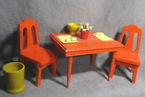 Vintage Strombecker Wood Dollhouse Miniature Furniture - Table & Chair Set