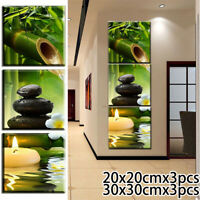 Green Bamboo Zen Stones Water 3 Pcs HD Art Poster Wall Home Decor Canvas Print