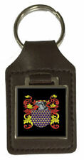 Bromell Family Crest Surname Coat Of Arms Brown Leather Keyring Engraved