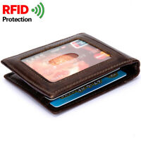 100% Genuine Leather Men's Bifold Wallet Front Window Card Holder Money Clip