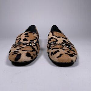 GUCCI Tan Animal Print Calf Hair Horsebit 'Lillian' Loafer