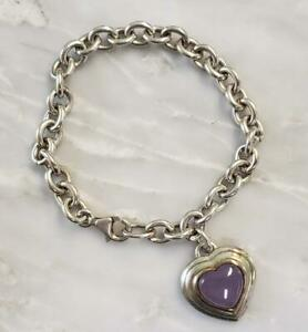 Sterling Silver Chain Bracelet With Heart Chalcedony Charm ~ 30.6grams ~ 9-F8359