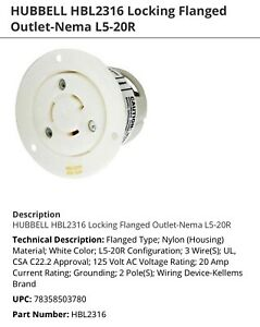 Hubbell Wiring Device-Hbl2316 20A Flanged Twist-Lock Receptacle 2P 3W