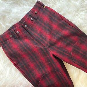 Vintage WOOLRICH Wool Pants 36 Red Plaid Heavyweight Double Knee Lumberjack