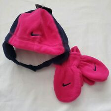 Nike Hat and Mittens Set, Size 2T - 4T, Pink 2A2297-141, Gift, Strap Beanie C8 M