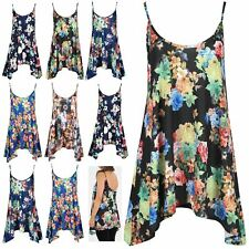 Womens Floral Printed Swing Dress Thin Cami Strappy Ladies Flared Vest Mini Top