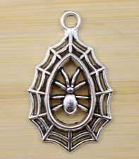 10 pcs Very lucky spider Tibet silver charm pendant 34x21 mm