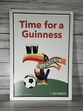 """Guinness """"Time For A Guinness"""" Toucan Soccer Metal Tin Sign 18 3/4hx13 1/4""""w New"""