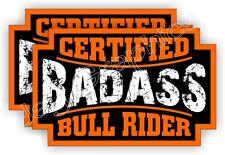 2 Badass BULL RIDER Rodeo Helmet Stickers Decals Labels Motorcycle Cowboy Spurs