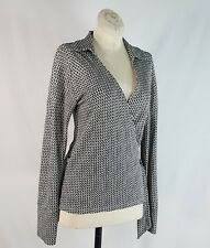 Banana Republic Sz S Wrap Top Rayon Career Long Sleeve Collar See Description