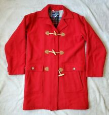 Vintage Lands End Womens Medium Red Toggle Button Zipper Wool Peacoat Jacket