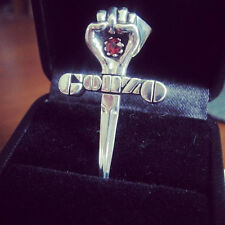 Gonzo First Silver Pendant Red Garnet Stone Necklace Hunter Thompson Johnny Depp