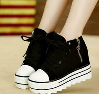 Womens Zipper Sneakers Canvas High Top hidden wedge heel Lace up Casual Shoes