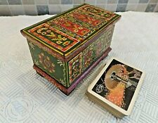 VINTAGE HAND PAINTED FOLK ART PLAYING CARD BOX IN FORM OF MINIATURE DOWRY CHEST