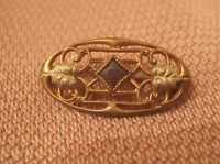 antique 1800's ornate yellow gold bronze purple stone Victorian pin brooch old