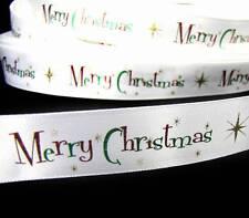 "5 Yards Christmas Merry Christmas White Satin Ribbon 7/8""W"