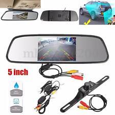 "5"" Car TFT LCD Monitor Mirror + Wireless Reverse Car Rear View Backup Camera Kit"