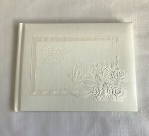 CR Gibson Wedding Guest Book Ivory Embossed Cover Roses Dove In Box