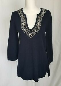 Anthropologie Joie Navy Blue Embroidered Sweater Large