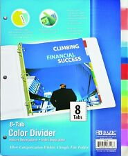 8 Tab Colored Dividers 3 Ring Binder See Thru Plastic Film File Folder Inserts