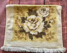 VTG FASHION YELLOW FLORAL rose hand BATH TOWEL MCM Cannon brown terry cloth