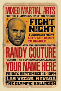 YOUR NAME on a MMA champ poster vs Randy Couture - personalized & cool