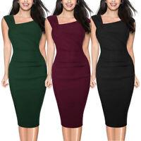 Elegant Women Retro 50s Sleeveless Slim Formal Business Work Pencil Summer Dress