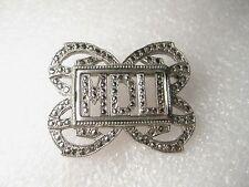 """Vintage Art Deco Marcasite Initial Brooch - MDU - marked V.L. on back,  1.5"""""""