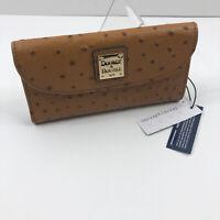 NWT DOONEY & BOURKE Continental Clutch Wallet Checkbook Tan Brown Ostrich