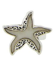 COASTAL Silver Filigree MOTHER of PEARL Adjustable STARFISH Sealife RING New