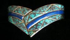 Navajo Turquoise & Lapis Wide Cuff Bracelet signed DRFJR