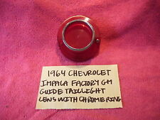 1964 CHEVROLET IMPALA GM GUIDE TAILLIGHT LENS WITH CHROME RING 5955340 FREE SHIP