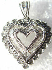 FINE JEWELRY HEART PENDANT DESIGNED WHITE ROUND AND BAGUETTE DIAMONDS BEAUTIFUL