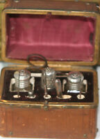 ANTIQUEc1880's ETUI 10pc SEWING TOOLED LEATHER CHEST~STERLING THIMBLE & more