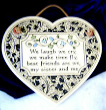 Pottery Wall Plaque - Sisters / Heart Shaped Trinity Pottery Style