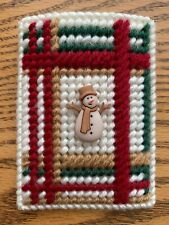 Handmade Needlepoint Plastic Canvas Gift Card Holder - Primitive Plaid Snowman