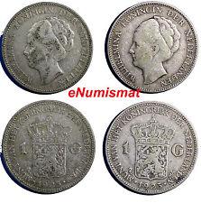 Netherlands Wilhelmina I Silver LOT OF 2 COINS 1923 1 Gulden 28mm KM# 161.1