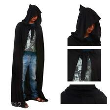 Novelty Cloak Adult Black Hooded Cape Medieval Renaissance Costume Fancy Dress