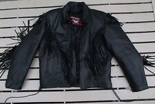 Interstate Leather Motorcycle Fringe Jacket W/ Zip in-out Liner L Large, Perfect