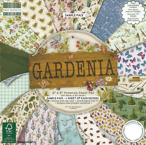 GARDENIA Dovecraft 8 x 8 Sample Paper Pack 1 of each design 6 Sheets 200gsm