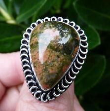 Beautiful Large Silver & Unakite Jasper Ring. Size U 1/2.