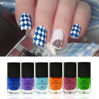 6pcs/set 6ml BORN PRETTY Nail Art Stamping Polish Nail Stamp Plate Varnish #7-12