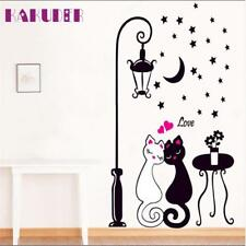 Cat Wall Sticker For Kids Room Lamp And Butterflies Stickers Decor Decals