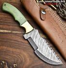 Handmade Damascus Hunting Blade Tracker Camping Full Tang Knife